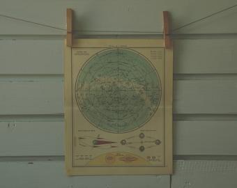 1959 Vintage Northern Hemisphere Celestial Map