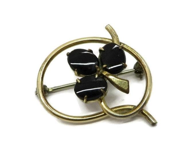 Onyx Gold Filled Brooch, Vintge 12K Gold Filled Signed WRE Brooch