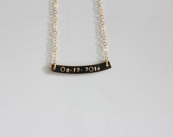 Single date bar || Gold filled date bar necklace