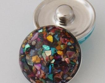 KB2218  Alloy Chip Multicolor Snap-It Charm