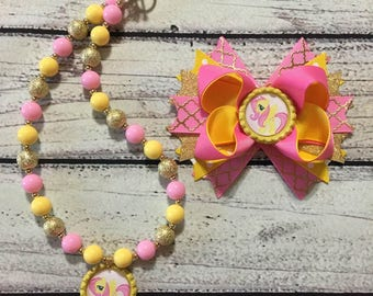 My Little Pony Fluttershy Hair Bow and Necklace SET, Fluttershy  Chunky/Bubblegum Necklace,My Little Pony Outfit, Fluttershy