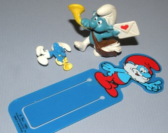 Sale 1984 SMURF Enamel Pin, Figurine and Bookmark