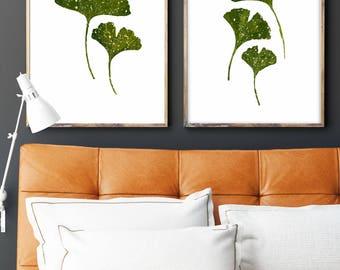 Set of 2, Ginkgo plant, Limited Edition 2017, Herb Chart, Indoor print, Botanical Print Set, Botanical art, Love Decor Green, Herb Print.