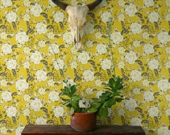 Vintage Garden Rose Pattern Wallpaper, Yellow Removable Wallpaper, Vintage Wall Decal, Garden Rose Self Adhesive Wallpaper, 188