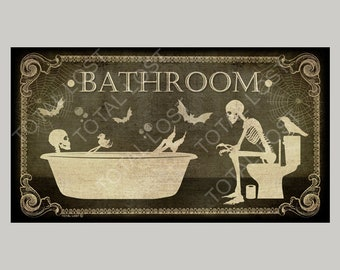 Bathroom skulls door sign,door sign,toilet,signs,skull,skeleton,housewarming,horror,gothic decor,bath sign