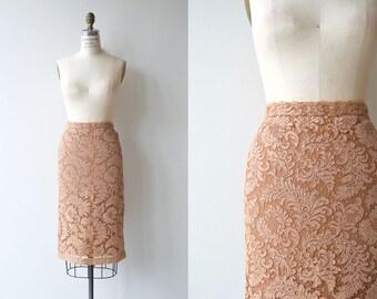 Alençon lace skirt | vintage 1950s skirt | 50s lace pencil skirt