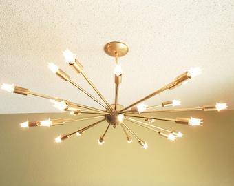 Large 24 Arm Sputnik Light Atomic Mid Century Starburst Chandelier UL Listed