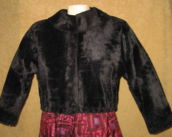 50s Faux Fur Velvet Cropped Jacket Vintage