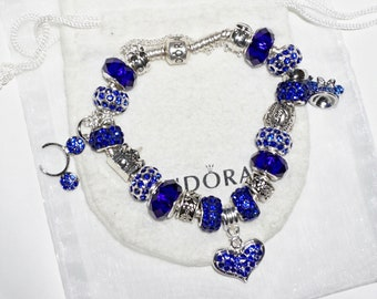 Beautiful Blue Mickey & Minnie Mouse Ears - Authentic Jared Pandora bracelet