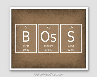 Gift for Boss, Chemistry Elements, Science Geek Gift, Nerdy Office Decor