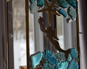 Beach Decor - Beach House Lantern with Mermaid and Sea Glass-Handmade