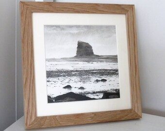 Black Nab landscape drawing , seascape, charcoal drawing, pencil drawing, black and white, coast art, original art, Yorkshire coast, UK
