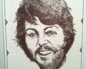 Paul McCartney's Caricature 70's  Poster Made With Paul's Signature