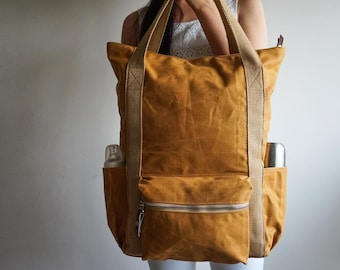 Wax Canvas Backpack, Convertible Backpack, Diaper Backpack, Baby Shower Gift, 9 Pockets, Waxed Canvas Tote, Vegan Backpack, Burnt Yellow