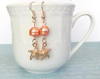 rose gold starfish earrings, starfish earrings dangle, beach jewelry earrings, peach pearl earrings, summer earrings, starfish gold earring