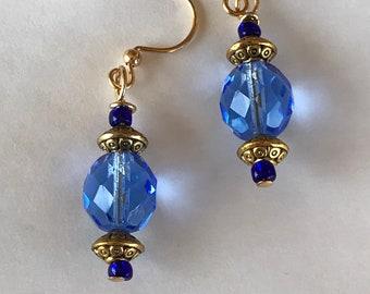 Blue earrings, dangle earrings, beaded earrings, gold and blue earrings, gift, mothers day earrings