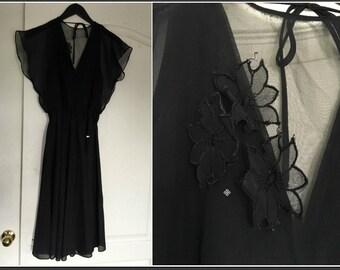 Vintage 1970s Young Edwardian by Arpeja Black Sheer Disco Dress - Size 9