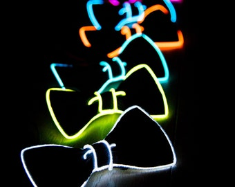 Light Up Bow Tie, Neck, Glow In The Dark, Light Up, Rave Wear, Tron, Costume,  LED