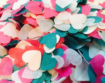 Bright pink, turquoise green and white heart wedding confetti - biodegradable