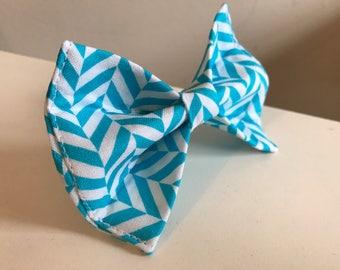 Blue Turquoise Trellis Herringbone Design Dog Bow Tie in Small, Medium or Large
