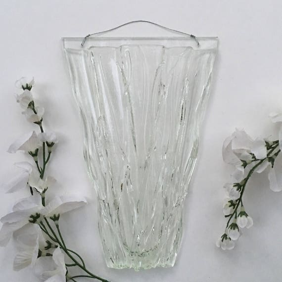 Med-Large Clear Grass. Wall Art, Fused Glass, Wall Vase, Glass Pocket