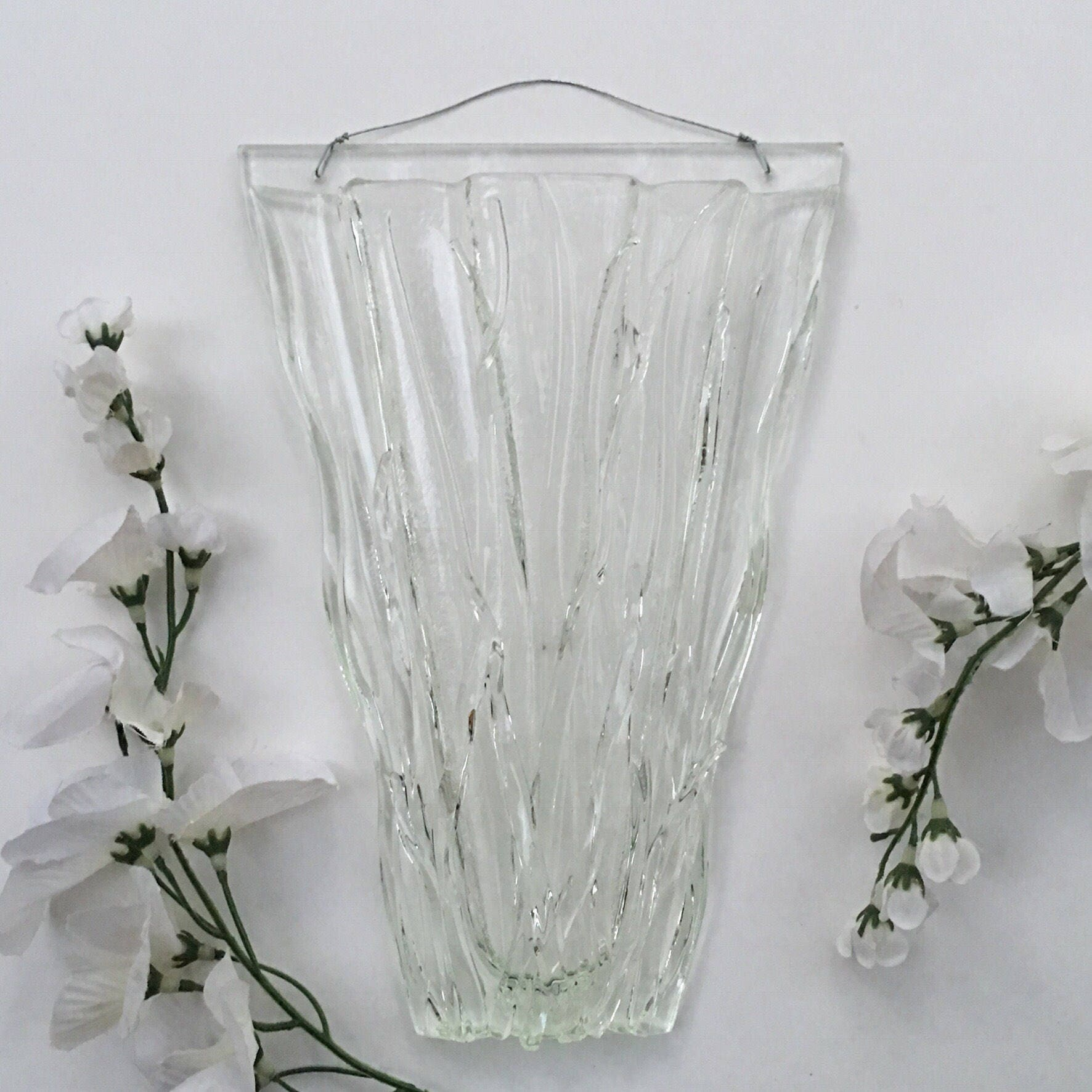 Med large clear grass wall art fused glass wall vase glass pocket wall art fused glass wall vase glass pocket reviewsmspy