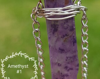 Amethyst Wire Wrapped Necklace.