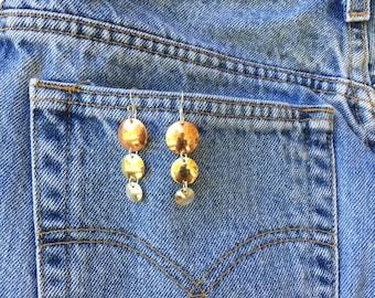 Mixed metal 3-disc drop earrings, copper, brass, silver