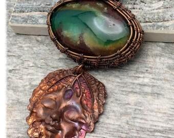 Australian Chrysoprase, Rare Gemstone, Handwoven Copper, Artisan Copper Leaf Face, Marta Weaver Jewelry, Free Shipping in USA