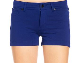 Fashionazzle Women's Casual Summer Beach Shorts Solid Stretch Shorts Marine Blue