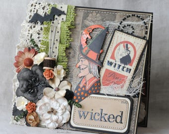Wicked Witch Halloween Card, Halloween, Greeting Card, Witch, Bats, 3D, Keepsake Card
