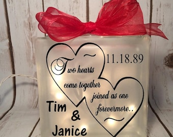 home decor lighted glass block 6x6 two hearts come together joined as one forevermore, wedding gift, bride, anniversary, gift for couple