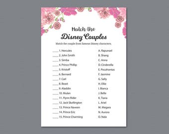 Match the Disney Couples, Bridal Shower Famous Couples Match Game, Pink Floral Wedding Shower Game Printable, Bachelorette Party, A005
