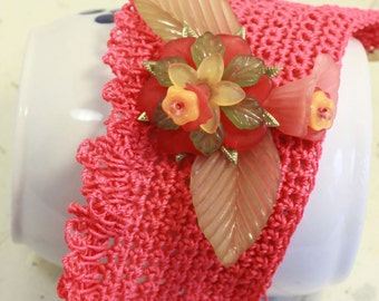 crocheted cuff bracelet - Tangerine dream