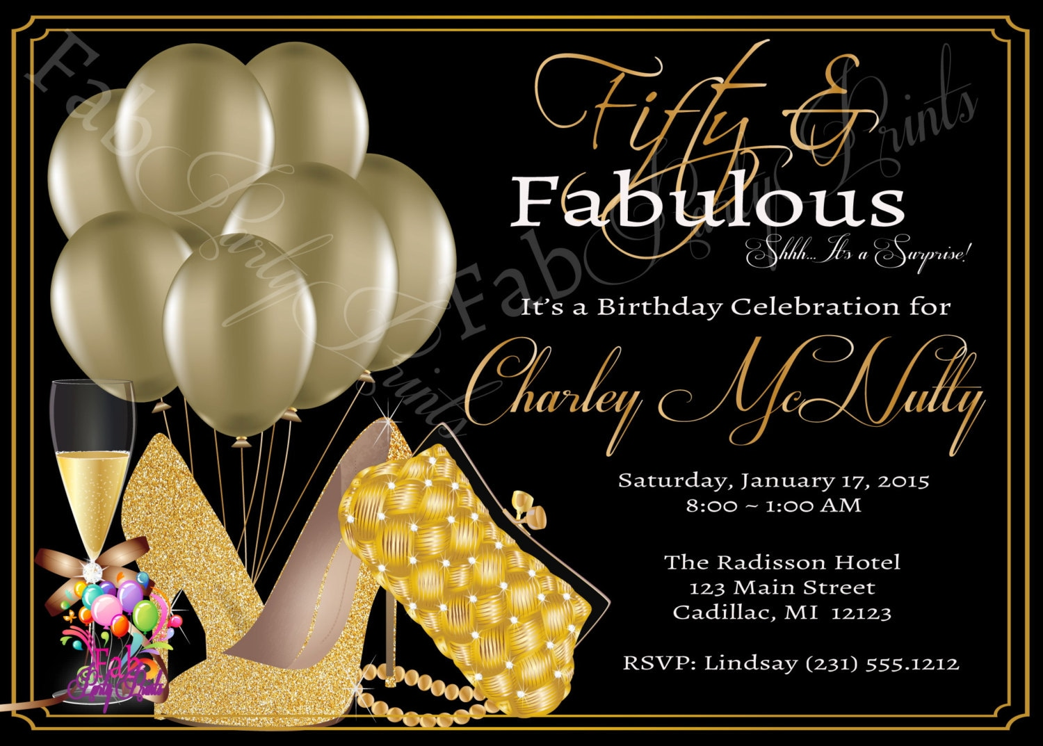 Womens 50th birthday invitation adult 50th birthday zoom filmwisefo Gallery