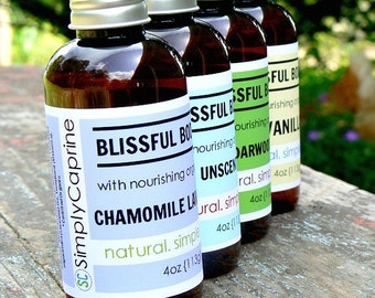 BLISSFUL Body Oil  | For Bath + Body |  Natural and Organic Ingredients | Essential Oils | 4oz