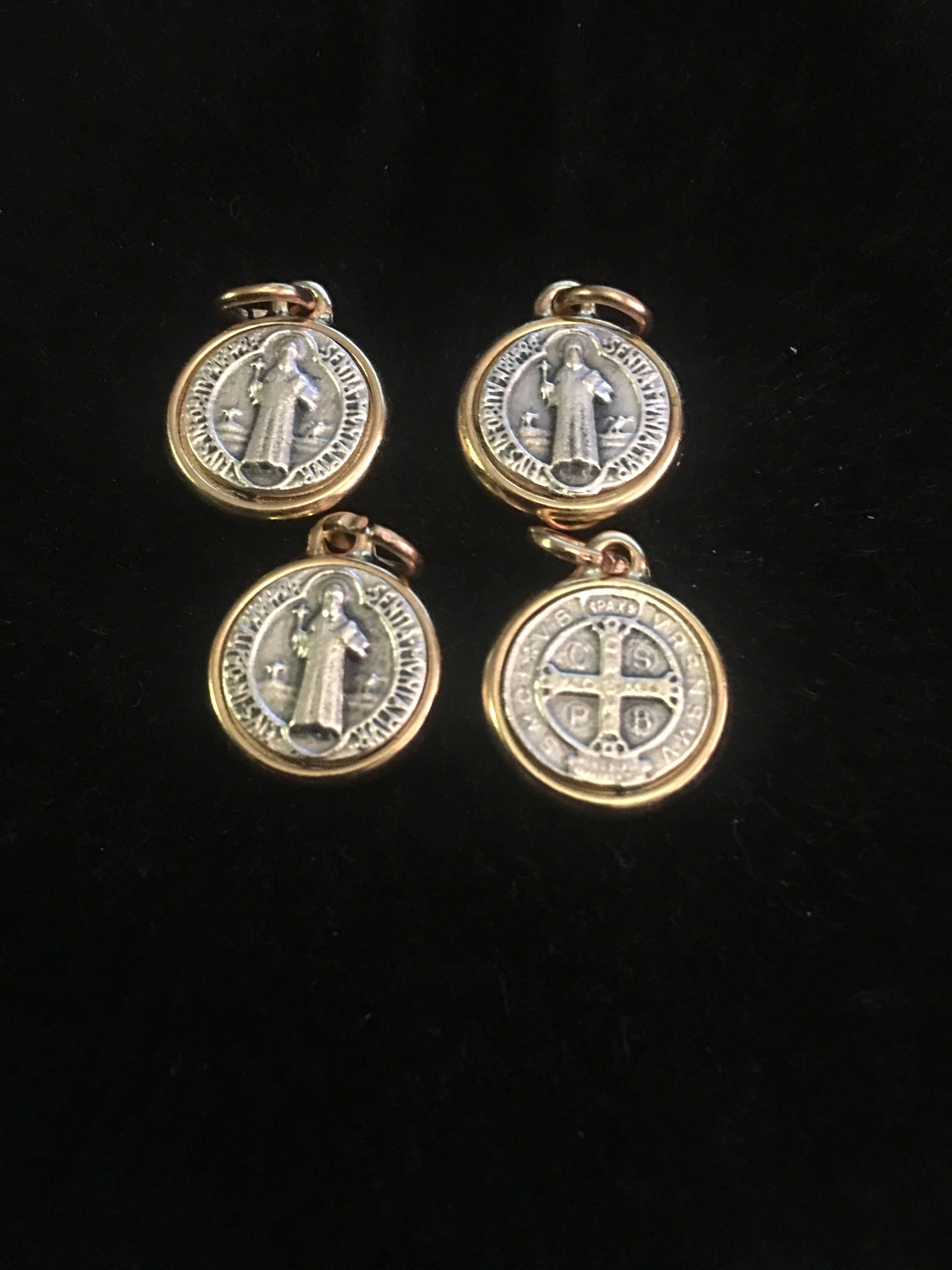medallion silver lever suite store necklace earrings saint st cross medal benedict french sterling jewelry and back