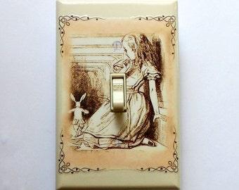 Selection of White Rabbit Switchplates w/ MATCHING SCREWS- Alice in Wonderland art prints Wonderland bedroom decoration Alice art decoration