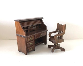 Vintage Toy Rolltop Desk and Swivel Desk Chair - Wood Dollhouse Furniture - 1:12 Scale Miniatures