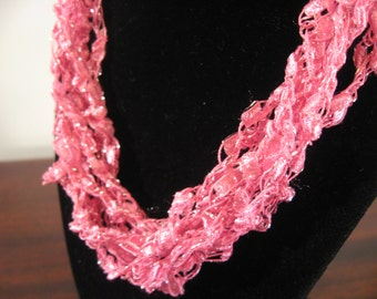 Pink Trellis Necklace / Crochet Necklace Perfect for Valentine's Day Item No. A118