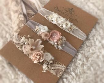 Floral Headbands, Three Headbands, Baby Headbands, Newborn Headbands, Photo Props, Blush Pink, Light Peach and Ivory Headbands