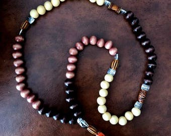 Wooden Prayer Bead Necklace