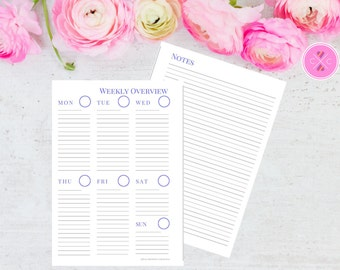 Blue Printable Week on One Page with Notes Planner Insert for A5 Filofax and Large Kikki K - Instant Downloadable Weekly Planner