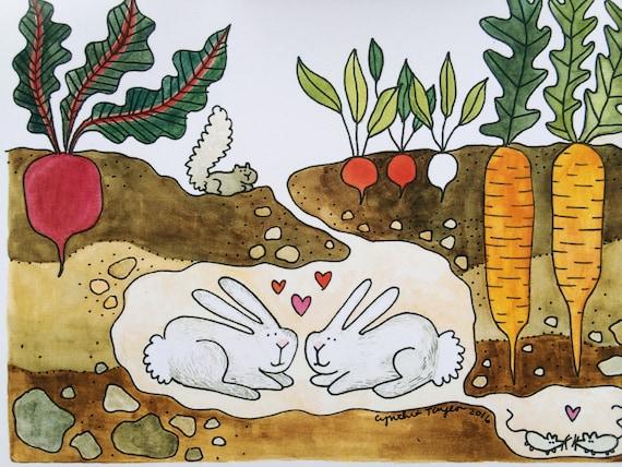 Love Bunnies Greeting Card, 5 x 7 (A7), blank inside