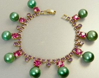 Vintage Rhinestone Bracelet Amethyst & Fuschia Green Beads