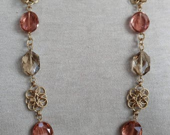 Long Peach & Champagne Crystal Chain Maille Necklace