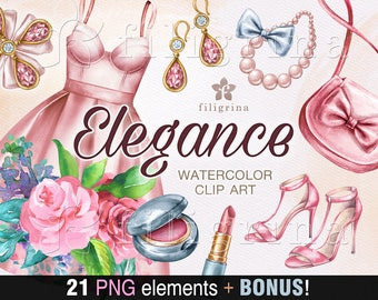 ELEGANCE Watercolor Clip Art. 21 elements. Shabby chic, flowers, women fashion clothes, prom dress, shoes, purse, jewelry. Read about use