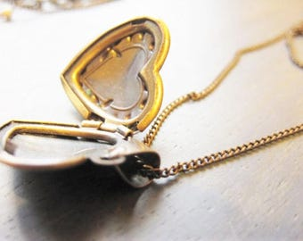 Locket, Antique Bronze Small Heart Brass Flower Locket, Antique Bronze necklace