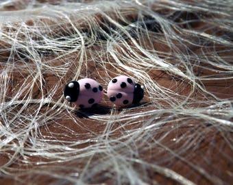 Pastel pink polymer clay Ladybug Stud Earrings