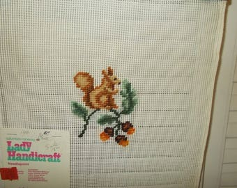 Vintage Small Needlepoint Canvas-Brown Squirrel & Acorns-Columbia Minerva-11x11-FREE SHIPPING!